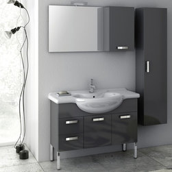 ACF - 39 Inch Bathroom Vanity Set - Set Includes: . Vanity Cabinet (2 doors, 2 drawers). Fitted ceramic sink (41.7 inch x 19.3 inch ). Mirror (W 27.6 inch x H 21.8 inch ). Tall Storage Cabinet (W 13.8 inch x H 59.1 inch x D 8.2 inch ). Short Storage Cabinet (W 13.8 inch x H 21.8 inch x D 8.2 inch ). Vanity light. Kit of 4 polished chrome feet (7.9 inch ). Vanity Set Features:. Vanity cabinet made of engineered wood. Cabinet features waterproof panels. Available in Glossy Anthracite, Glossy White, Glossy Red. Cabinet features 2 doors and 2 soft-closing drawers. Faucet not included. Perfect for modern bathrooms. Made and designed in Italy. Includes manufacturer 5 year warranty.