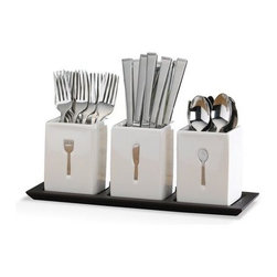 Blakely 36 Piece Flatware Set w/Caddies - The cutlery pressed in each ceramic caddy adds style to a stereotypically ordinary container. The design promotes organization as well.