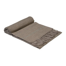 "Erdenet - Erdenet Mongolian Cashmere Home Throw Fringed 51""x67"", Solid Burlywood - This luxuriously soft home throw is ideal for cozying up on an evening at home. The Mongolian brand Erdenet is known for its unparalleled cashmere, yak hair and camel wool garments and accessories."