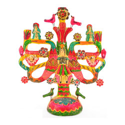 Consigned Vintage Mexican Tree Of Life Candelabra - Extraordinary Aurelio Flores Mexican Tree of Life Candelabra.  Archangel Gabriel surrounded by flowers,animals, cherubs with two saints on top.