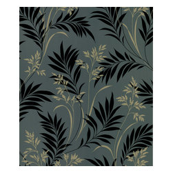 Beacon House - Bali Hai Black Foliage Wallpaper - Settle in and allow your mind to loop, gracefully following the foliage. With its whimsical interplay of black and ochre stems against a deep olive backdrop, this prepasted wallpaper adds grace to your living area by conjuring a lush expanse of rainforest indoors.