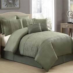 None - Hillside Green Embroidered 8-piece Comforter Set - Dress your bed in beauty with the Hillside 8-piece comforter set featuring embroidered details and a green finish. This set also includes a bedskirt,two shams,two Euro shams and two decorative pillows that will complete the look.