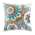 Harbor House - Harbor House Belcourt 18-Inch Square Toss Pillow in White - This intricate square toss pillow features a colorful applique giving extra pops of color to your Belcourt duvet cover.