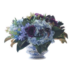 Winward Designs - Hydrangea/Lilac In Ceramic Pot Flower Arrangement - This lush bouquet of cool blue hydrangeas and purple accent flowers is soothing and romantic. The silk flowers are artfully made to look as fresh and natural as possible, fooling your guests and pleasing your senses day in and day out.