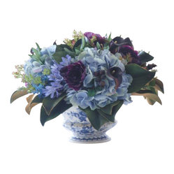 Hydrangea and Lilac In Ceramic Container