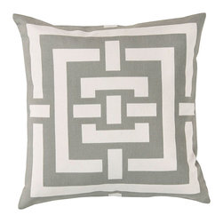 Ash Grey Labyrinth Pillow - Gorgeous blocks of grey and white connect in a labyrinth pattern in this simple, classic and elegant accent that can be utilized with various decor styles seamlessly. Made of cotton for a casual feel, the Labyrinth Pillow can be combined with a nautical decor or a transitional style by placing one in a white wicker chair or three in a row on a bench in your entryway. The possibilities are endless.