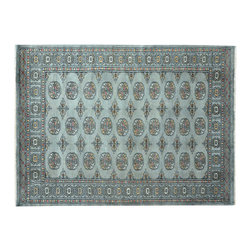1800-Get-A-Rug - Silver Bokara Elephant Feet Design Hand Knotted Oriental Rug Sh15111 - Our Tribal & Geometric Collection consists of classic rugs woven with geometric patterns based on traditional tribal motifs. You will find Kazak rugs and flat-woven Kilims with centuries-old classic Turkish, Persian, Caucasian and Armenian patterns. The collection also includes the antique, finely-woven Serapi Heriz, the Mamluk Afghan, and the traditional village Persian rug.