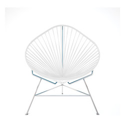 Acapulco Chair, Chrome Frame With White Weave - A tripod metal base cradles this classic woven vinyl chair design. The modern look is ideal for outdoor use as it's weatherproof and easy to clean, but it's just as stylish inside your home. Pick from a rainbow of colors to add the perfect pop of color or stick with classic black.