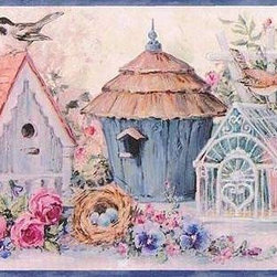 York Wallcoverings - Blue Flowers And Bird Houses Wallpaper Border - Wallpaper borders bring color, character and detail to a room with exciting new look for your walls - easier and quicker then ever.