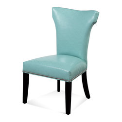 Bassett Mirror - Bassett Mirror Nelson Nailhead Parsons Chair, Kleen Seat Turquoise (Set of 2) - Nelson Shaped Nailhead Parsons Chair, Kleen Seat Turquoise, Set of 2