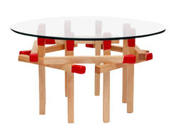ARTLESS - Red Octagonal Matchstick Table - ARTLESS Octagonal Matchstick Table is the largest in the Matchstick Table family. It has the perfect size to be either a side or center table. Clean in form yet with a beautiful complexity between the wood detailing and the transparency of the glass top.