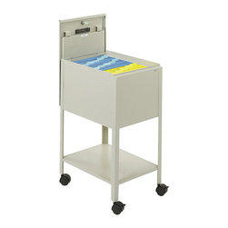 Safco - Safco Standard Mobile Letter Size Tub File with Lock in Putty - Safco - Filing Cabinets - 5361PT - Create a new standard for organizing. Economy letter size file keeps important files close at hand. Durable steel construction with locking lid (2 keys included) slides behind unit for access to files. Top viewing design allows easy filing and retrieval of stored documents. Holds letter size hanging file folders (not included). Economy Tub File includes a convenient lower storage shelf and four swivel casters (two lock) so files roll easily to point of use.
