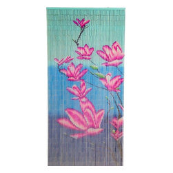 "Bamboo54 - Bamboo Pink Floras Scene - Bamboo54 pink floras scene is made from authentic bamboo and hand strung. One curtain contains 90 strands across and is the perfect door hanging accessory. Hand painted on both sides. Measures approximately 36"" x 80"""