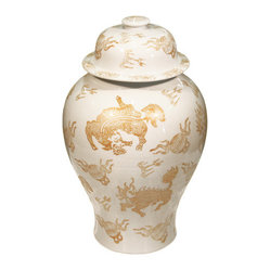 Belle & June - White & Gold Kylin Temple Jar - There are two types of accent pieces – those that work seamlessly with the surrounding decor and those that steal the show. This stately gold and white jar is definitely a show stealer.