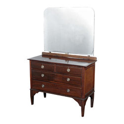 Antiques - Antique Mahogany Victorian Dresser Chest Vanity Mirror - Mahogany finish