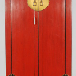Asian-Inspired Red Lacquered Tall and Slender Cabinet - Asian-Inspired Red Lacquered Tall and Slender Cabinet
