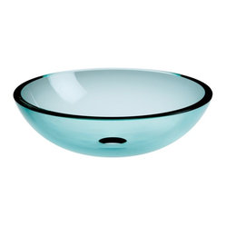 "WS Bath collections - Acquaio 53969.80 Glass Sink 16.7"" - This curvy bowl-shaped washbasin is so pretty you'll want to make sure every guest has a chance to visit your powder room. Made in Italy, it comes in several sizes and a virtual rainbow of colors from pale blue to red, black, white and even silver and gold leaf."