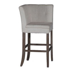 Gabby - Gabby Cooper Barstool - This unique two-sided barstool is covered in white linen with eco friendly parawood legs. Turn the stool at a quarter angle for different seating styles, or pair with the Conrad Barstools as a long bench.