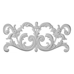 "Ekena Millwork - 16""W x 7 1/8""H x 5/8""P Ashford Center Onlay - 16""W x 7 1/8""H x 5/8""P Ashford Center Onlay. Our appliques and onlays are the perfect accent pieces to cabinetry, furniture, fireplace mantels, ceilings, and more. Each pattern is carefully crafted after traditional and historical designs. Each polyurethane piece is easily installed, just like wood pieces, with simple glues and finish nails. Another benefit of polyurethane is it will not rot or crack, and is impervious to insect manifestations. It comes to you factory primed and ready for your paint, faux finish, gel stain, marbleizing and more."