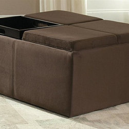 Homelegance - Kaitlyn Cocktail Ottoman - Storage and seating. Rhino microfiber upholstery in mocha. Four individual serving trays. 36 in. W x 36 in. D x 17 in. H