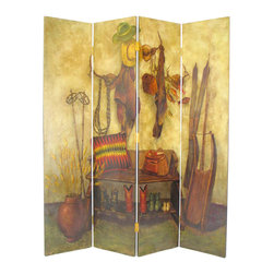 Wayborn - Wayborn Hand Painted The Cowboy Room Divider - Wayborn - Room Dividers - 2278 - Wayborn hand painted screens start with a cedar plywood frame covered in a cheesecloth material. Then layer after layer of plaster is applied; each layer must dry before another layer can be applied. After all the plaster has been applied several coats of lacquer is put over the entire surface. At that time the artist begins to sketch out the painting directly on the panels of the screen and begins painting the design with water based paint.  Each one of these screens has its own characteristics and is truly a work of art.
