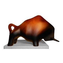 Wood Sculpture - Bull Attack - -Handmade by artisans in Chile