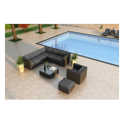 Urbana 8-Piece Modern Patio Sectional Set, Charcoal Cushions