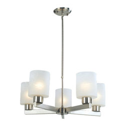 """Z-Lite - Z-Lite 152-5 5 Light Up Lighting Chandelier with Cylinder Glass Shade from the C - Z-Lite 152-5 5 Light Up Lighting Chandelier with Cylinder Glass Shade from the Cobalt CollectionThe sleek Cobalt family boasts clean straight lines to add a touch of contemporary to your space. The cylindrical white linen glass shades are a perfect contrast with the brushed nickel finish. Each 3 light fixture comes with 2 telescoping rods that range from 18""""-36"""". Rods are attached to a single rectangular canopy measuring 4.75"""" x 18"""". Single hung fixtures also have a telescoping rod that ranges from 18""""-36"""" adjustable to suit desired height.Features:"""