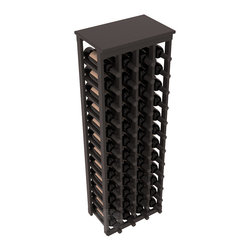 "48 Bottle Kitchen Wine Rack in Pine with Black Stain + Satin Finish - Store 4 complete cases of wine in less than 20"" of wall space. Just over 4 feet tall, this narrow wine rack fits perfectly in hallways, closets and other ""catch-all"" spaces in your home or den. The solid wood top serves as a shelf or table top for added convenience and storage of nick-nacks."
