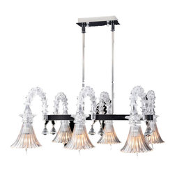 Royal Crystal Lighting - Royal Crystal Lighting Murano Glass Chandelier 6 Lights - Morden, Unique design of glass lighting, retangular over dinning table. Sophisticated look is also perfect for den or home office.