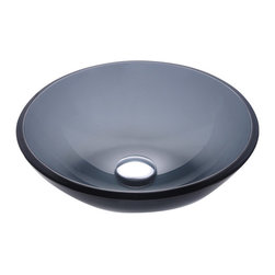 Kraus - Kraus GV-104 Clear Black Glass Vessel Sink - Fashionable bathroom sink is the perfect harmony of elegance and style