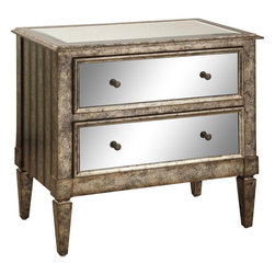 Powell - Powell Antique Silver and Black Crackle 2-drawer Mirrored Console - Powell 'Antique Silver & Black Crackle' 2-drawer Mirrored Console