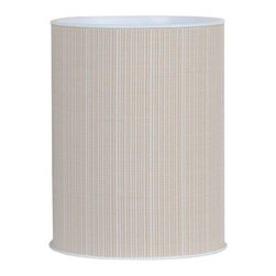 Lamont Home - Aiden Round Wastebasket Taupe - Made from high quality PVC/Polyester fabric, these traditional styles have been updated in a wide range of patterns to match any decor. A vinyl lid with metal grommet completes the look for the hamper. A very durable product that adds style to any laundry room.