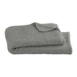 Hailey Shadow Throw - I love the calm gray color and weave-like texture of this blanket.