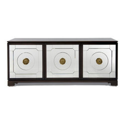 EcoFirstArt - woodward cabinet - The Woodward Cabinet is based on a stereo cabinet Michael saw in a 1960s photo of Joanne Woodward and Paul Newman�۪s New York City apartment. Built of walnut, this cabinet features hand beveled mirrored doors with gorgeous cast brass hardware. The interior has adjustable wood shelves.