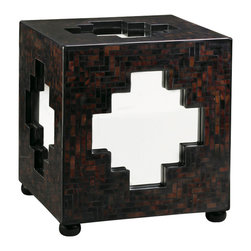 Lexington - Lexington Henry Link Trading Co. Zanzibar Cube 4011-709 - A polished surface of dark penn shell creates rich colors and unique patterns on each side of the cube, framing mirrored glass inserts in the shape of a Moroccan cross. Bun feet are finished in Ebony.
