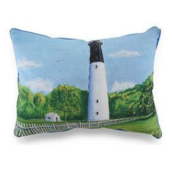 Betsy Drake - Betsy Drake Huntington Island Indoor/Outdoor Throw Pillow 16 In. x 20 In. - Add a pop of nautical charm with this throw pillow to accent your home inside or out in coastal style with original artwork, artist R.B. Hamilton showcases his depiction of the Huntington Island Lighthouse in beautiful artistic style that's perfect for your living room sofa or the Adirondack chair on the patio and has a complementing blue backing and piping around the edges. The 100% polyester cover is water repellent and it's filled with 100% polyester fiber. Measuring 20 inches long by 16 inches wide (51 cm by 41 cm), it would look amazing by a pool area, in the guest room or just tossed on the bed, and is made with pride in the U.S.A. It is recommended to spot clean only. This bright and cheerful throw pillow would make an excellent housewarming gift perfect for any tropical decor fans