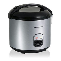 Hamilton Beach - Rice Cooker & Steamer - From Hamilton Beach , this 4 to 20 Cup Rice Cooker and Food Steamer cooks rice with the push of a button. It cooks every kind of rice and automatically shifts to keep warm. It features a sealed lid, a dishwasher safe inner liner and convenient paddle rest. Steam tray, rice paddle and measuring cup are included.