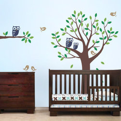 """Tree with Owls and Birds - The perfect complement to your baby nursery!  This wall decal set includes an 80"""" tall tree, a 27"""" wide branch, leaves, three owls and five cute birds."""