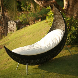 Neoteric Cheshire Modern Outdoor Wicker Patio Chair - I envision hours of relaxing in this chair/chaise. It looks like a comfy fluffy cocoon.