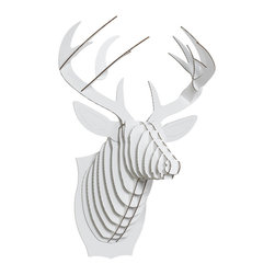 Cardboard Safari - Bucky Cardboard Deer Trophy Head, White - Our Deer Cardboard Trophies are laser-cut for precision fit and easy assembly using slotted construction. They look great in their native brown or white and can be decorated with paint, glitter, wrapping paper, or other craft materials.