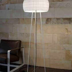 "Carpyen | Tango - Carpyen | Tango Isamu Floor Lamp - The Isamu floor lamp was designed by Nahtrang for Carpyen in 2010.  This contemporary floor lamp has a white polycarbonate diffuser covered with a white, black, beige or red shade with a metal base.  The light escapes from the top and the bottom of the Isamu floor lamp creating a soft diffused light.   Product description: The Isamu floor lamp was designed by Nahtrang for Carpyen in 2010.  This contemporary floor lamp has a white polycarbonate diffuser covered with a white, black,or red shade with a metal base.  The light escapes from the top and the bottom of the Isamu floor lamp creating a soft diffused light.             Details:                         Manufacturer:                        Carpyen                                                 Designer:                        Nahtrang                                         Made in:                        Spain                                         Dimensions:                        Width: 20.8""(53 cm) X Height: 63"" (160 cm)                                          Light bulb::                        2 X 100W Max E26 Medium Base Incandescent                                         Material:                                                                                    polycarbonate, fabric, metal"