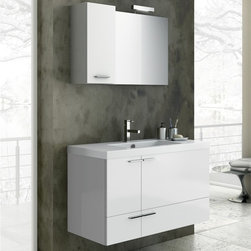 ACF - 39 Inch Bathroom Vanity Set - Set Includes: . Vanity Cabinet (2 doors, 1 drawer). Fitted ceramic sink (39.4 inch x 18 inch ). Mirror (W 27.6 inch x H 21.8 inch ). Vanity light. Short Storage Cabinet (W 9.8 inch x H 21.8 inch x D 8.2 inch ). Vanity Set Features:. Vanity cabinet made of engineered wood. Cabinet features waterproof panels. Available in Glossy White, Wenge, Grey Oak Senlis, Larch Canapa. Cabinet features 2 doors and 1 soft-closing drawer. Faucet not included. Perfect for modern bathrooms. Made and designed in Italy. Includes manufacturer 5 year warranty.