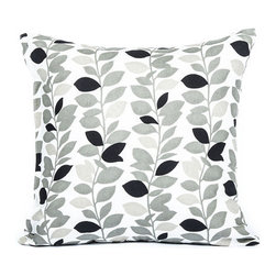 """Blooming Home Decor - Gray & Black Branch Leaf Pattern Throw Pillow Cover 16""""x16"""" - - 16"""" square"""