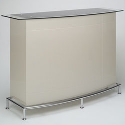 Chintaly Imports - Deborah High Gloss Bar with Black Glass Top - This sleek home bar server features: high gloss Beige finish, black glass top with clear borders. It has 3 shelves which give you plenty of room to store your glasses and bottles. Sturdy stainless steel base in chrome finish. Durable construction for