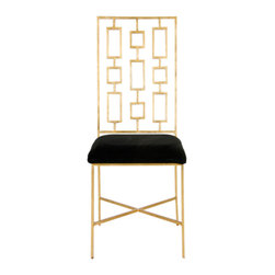 Worlds Away - Worlds Away - David Dining Chair - David, Gold With Black - A simplistic form emits contemporary charisma on the Worlds Away David chair. Posh in glamorous gold, the sleek seat's square and rectangular pattern invites geometric panache.