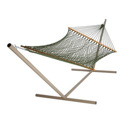"Pawleys Island - Presidential Size Original DuraCord Rope Hammock, Meadow - Appearances can fool you. Looking for all the world like cotton rope and, even more importantly, feeling like cotton rope, our oatmeal-colored DuraCord is nonetheless something altogether more. More durable, that is! Made to withstand the rain, sleet, snow, sun and heat of changing seasons without the maintenance and care that constant weather exposure requires of classic cotton, DuraCord is resistant to fading, staining, rot, mold and mildew.Think of it as cotton on steroids! (Side effects may include instant bliss, unexpected naps and sore facial muscles from sudden attacks of smiling.)  Hammock stand and pillow sold separately.  Total length 13', bed size 65x82""."