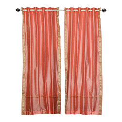 Indian Selections - Peach pink Ring Top  Sheer Sari Cafe Curtain / Drape / Panel  - 43W x 36L - Piec - Size of each curtain: 43 Inches wide X 36 Inches drop .  Made from Polyester Sari fabric  Top: 2 Inch Ring Top. Can accommodate rods up to 1.5 inches diameter  Machine Wash