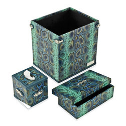 Paolo Guzzetta Firenze LLC - Accessory Set Collection, Python Billiard - The collection is hand made in Italy. It is fabricated in the highest quality of full grain calf leather, and is classically ornamented with palladium.  It's not only for your office but can work in a powder room.  The waste baskets can hold magazines and the letter holder is designed to hold guest towels as well. It comes in 5 leathers and 14 colors.  Leathers are treated to resist damage from normal wear, however exposure to liquids will cause harm to these products.  In this event, a professional leather artisan is needed to restore them to its natural beauty.  For normal maintenance use a soft cloth like chamois to polish  both the leather and metal elements.  Never use abrasive cleaners. High quality leather conditioner may be used according to their directions.  The set includes 3 pc: Waste Basket, envelope box & tissue holder.  Please note the dimension and weight is stated per set.