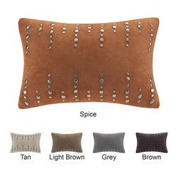 Madison Park - Madison Park Silver Stud Suede Feather Down Filled Oblong Pillow - Add style to your home with this bold oblong stud suede pillow. The luxurious suede creates a soft look,while the trickle of studs give a bold pop of style.